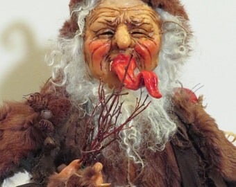 Krampus Doll, Santa's Dark Alter Ego, ooak Santa Doll, Handcrafted by artist Walt Carter