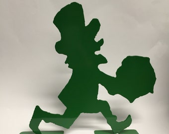 Metal Leprechaun Running with Pot of Gold Decoration