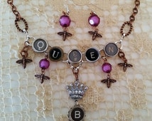 Queen B Necklace and Earrings Set, Antique Typewriter Key Jewelry, Purple Beads, Crown Charm, Copper, Letter B Jewelry, Mother's Day Gift