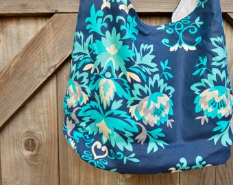 Blue and Teal Floral Hobo, Shopping Bag, Tote, Grocery Bag, Reusable, Vegan