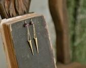 Dangling Rough Ruby Brass Spike Earrings, Tribal Earrings, Boho Earrings, Spike Earrings, Ruby Earrings, Statement, Bohemian, Gypsy