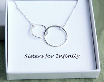 Sisters Necklace, Double Circles Necklace, Two Circles Eternity Necklace, Double Circle necklace, Sterling Silver Ring Necklace, Friendship
