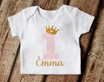 First Birthday Onesie - 1st Birthday Outfit - First Birthday Outift - Personalized Girls Gold Pink Princess Shirt - BODYSUIT ONLY