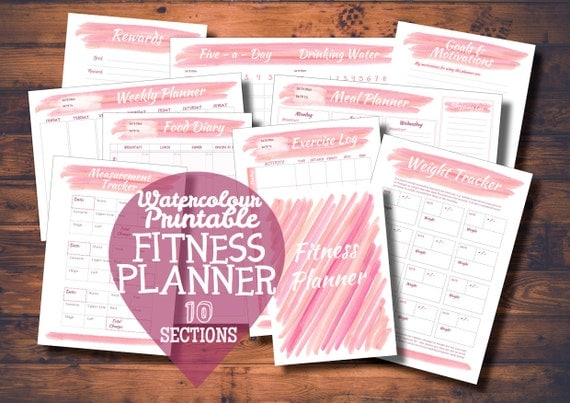 Pink Watercolor Printable Fitness Journal