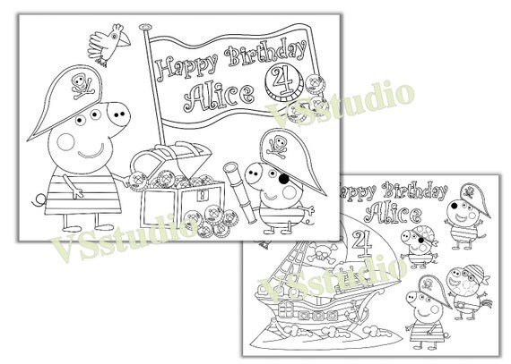 peppa pig pirate birthday party coloring pages file