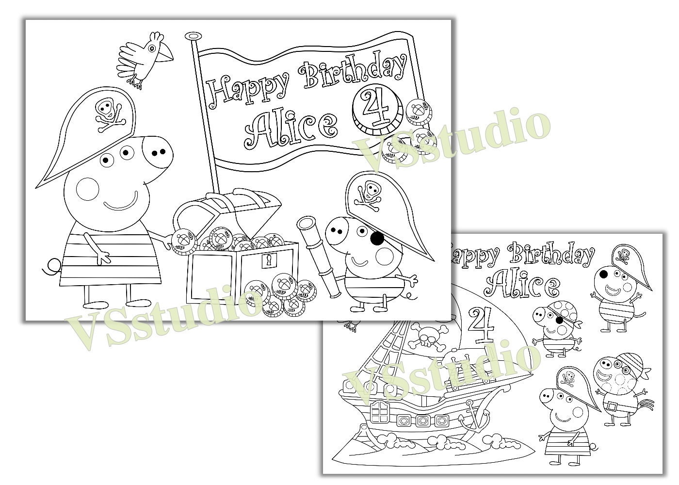 Peppa Pig Pirate Birthday Party coloring pages PDF file