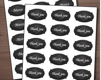 """Printable chalkboard """"Thank you / Merci"""" tags"""