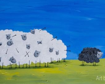 Black Sheep, Paintings for kids rooms, kids play room, art painting, Reproduction Original Acrylic painting, kid wall art, Children room art