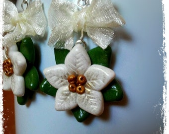 Polymer Clay White Poinsettia Earrings