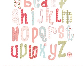 Shabby chic style alphabet, printable digital clipart set
