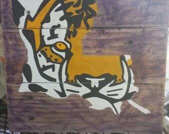 LSU Tigers Louisiana pallet painting