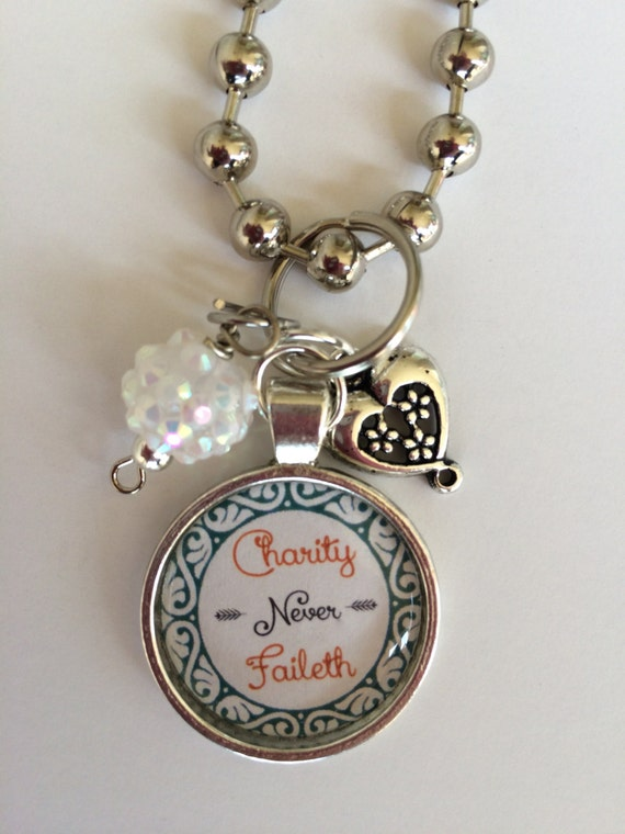 Relief society charity never faileth motto lds necklace for Jewelry that supports a charity