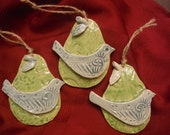 Set of Three -- Handmade ceramic Partridge in a Pear Tree Ornaments!  Makes a great gift!