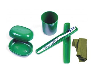 Retro 1980's Ex-Army Hygiene Kit - 5pcs Set Includes: Soap Dish, Toothbrush And Cover, Cup, Handkerchief; vintage camping travel