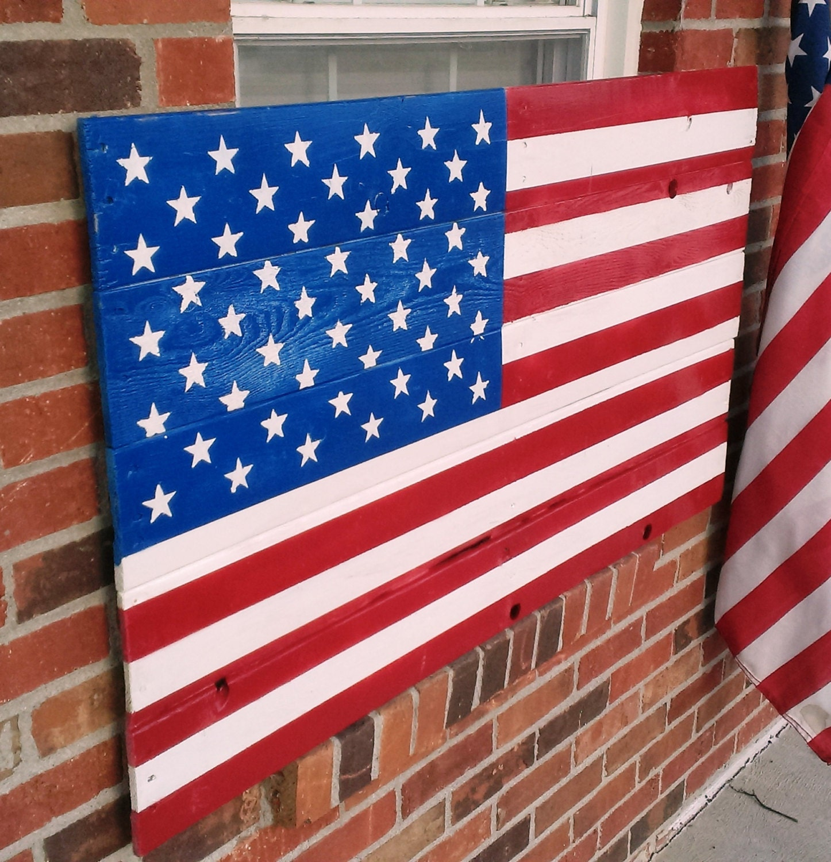 Rustic Pallet Flag Reclaimed Lumber Americana Wall Art