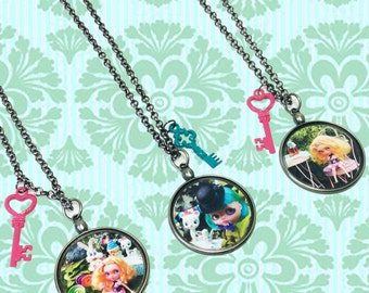 "OOAK Hand Made Necklaces featuring Custom Blythe Dolls in Scenes from Alice in Wonderland. 3 options:  Mad Hatter ""Tea Party;""  ""Drink Me."""