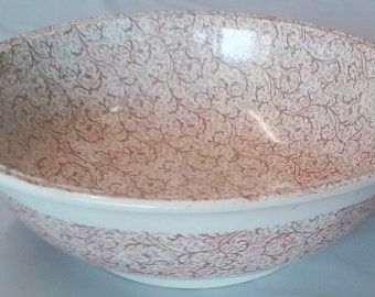 Antique 1880's Ironstone Cream & Brown Decorated Washbowl