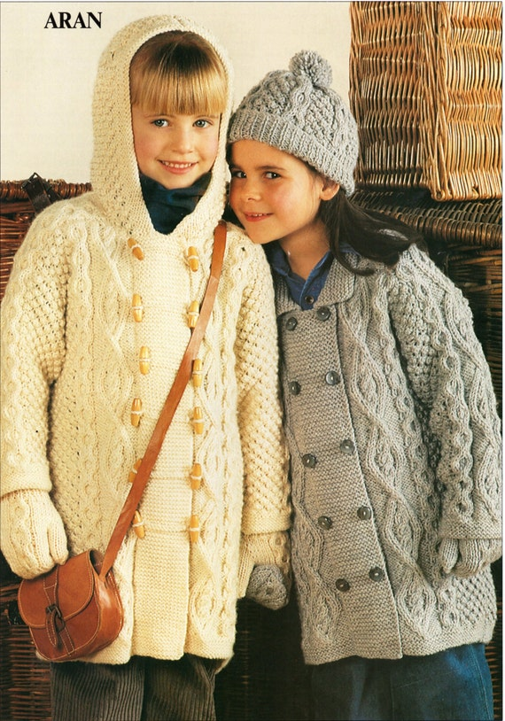 Knitting Patterns Jackets And Coats : Childrens Knitting Pattern childrens aran coats aran jackets
