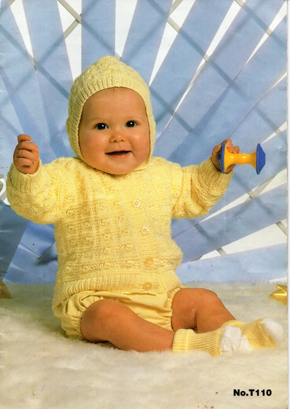 Knitting Pattern Baby Hooded Jacket : Baby 4ply Hooded Jacket knitting pattern PDF Hooded Cardigan