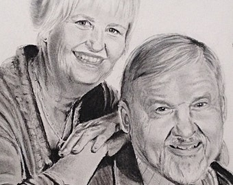 Custom charcoal 11 x 14 inch portrait of couple drawn from photo, handmade original art, charcoal pencil drawing, portrait of two people