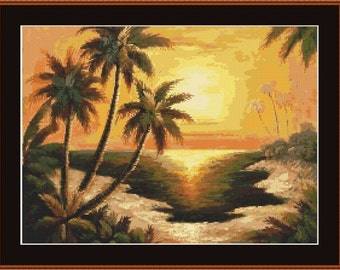 Palm Trees In The Sunset Counted Cross Stitch Pattern in PDF for Instant Download
