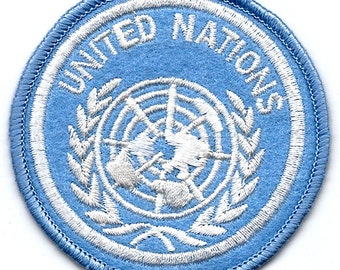 UNITED NATIONS UN Logo Seal Embroidered Iron On / Sew On Patch