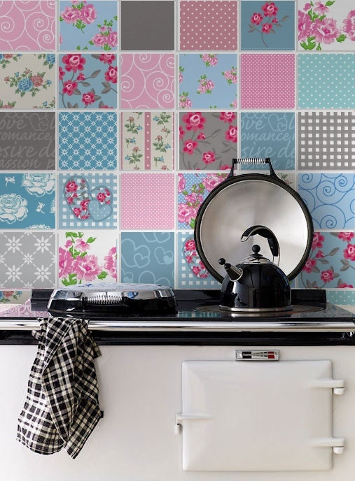 Tile decals patchwork tile stickers kitchen tiles - Stickers pour carrelage ...