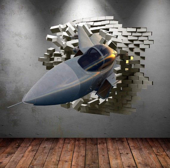 Army fighter jet plane cracked bricks 3d wall sticker urban for Airplane cockpit wall mural