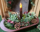 Christmas Centerpiece Arrangement with Timer Taper Candle, Rusty Pine Trees, Winter Greens, Pine Cones, Centerpiece, Christmas Decor
