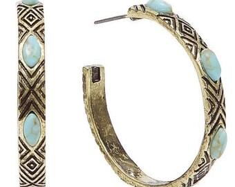 hoop earrings, Gypsy styl earrings, embossed brass, boho earrings, brass earrings. earrings, turquoise earrings.