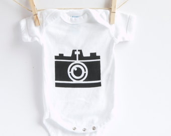 Hand Screen Printed Onesie- Hipster Camera design
