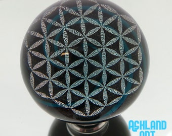35mm Silver Flower of Life Sacred Geometry Dichroic Image over turquoise spiral in Borosilicate Glass Marble with black back- 54 grams