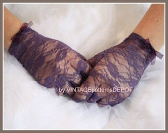 Women's PURPLE Wedding /Bridal Lace Gloves or for bridesmaids, prom, party, formal, full fingered dressy gloves