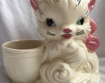 "Vintage 1950s ""Hull Art"" Pottery Cat Planter"