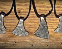 Miniature hand forged iron axe pendant, tomahawk, dwarven, barbarian, viking axe charm, wrought amulet, necklace, blacksmith made jewelry