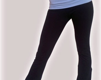 Fold Over Yoga Pants Trousers Exercise Gym Dance Fitness Flared Leg Black with Sky Blue Waistband