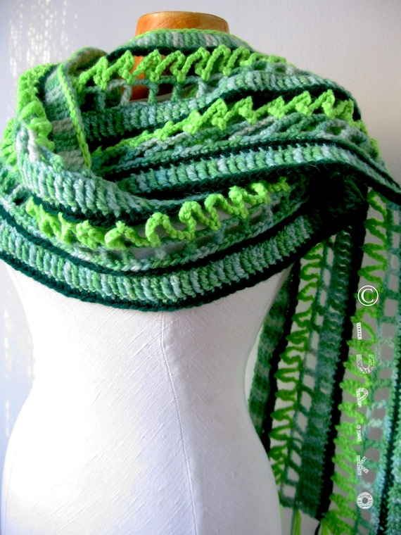 Multi Colored Scarf Knitting Pattern : Items similar to Wool Crochet Scarf Multi Colored Winter Scarf Long Colorful ...
