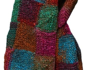 Hand Knit Scarf  - Jewel-Toned Patchwork in Silk Mohair and Wool