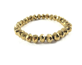 Gold Bracelet, Gold Beaded Bracelet, Stretch Bracelet, Bead Bracelet Women, Stackable Bracelets, Arm Candy, Gold Jewelry, Gift for Her