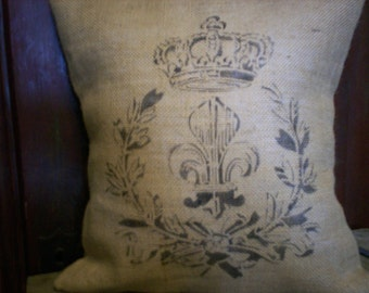 "Shabby  Country French 14""x14"" Fleur de Lis with Crown Burlap Pillow Cover"