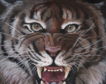 """Tiger - """"Meow"""" - Wildlife art print - mounted ready to frame"""