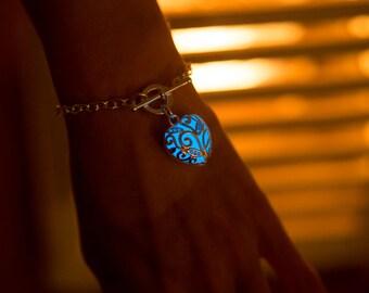 Blue Glowing Bracelet - Bracelet - Silver Bracelet - Glow in the Dark Bracelet - Glow Bracelet - Gifts for Her - Glow in the Dark Jewelry