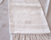 Vintage French Guest Towel with Long Fringe - Linen Floral Damask - Monogram -  Free Shipping Within the USA