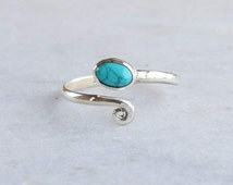 Toe Ring, Turquoise Toe Ring, Silver Toe Ring , Spiral Toe Ring,Sterling Silver Toe Ring, Gypsy Look, stylish Look, 925 Sterling Silver
