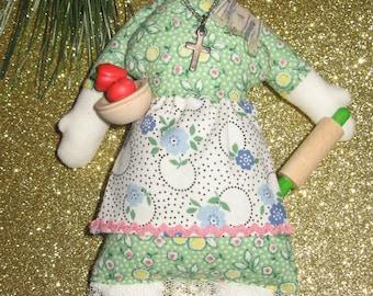"ITALIAN GRAM ""NONNA"" Doll~ Cloth Miniature Doll Ornament ~ Handmade~ Original Designs~ Grandmother~ Italy~ Grandma~ Grama"
