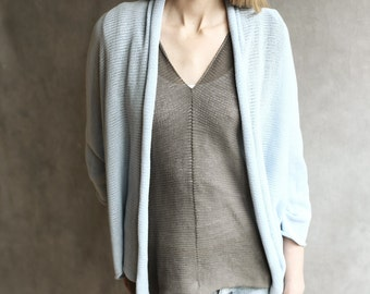 Loose Knit Open Sweater Cardigan Knitted  Sheer 100% Cotton Ice Blue Hand-Made Fluid With Shawl Collar 3/4 Sleeves