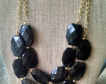 Double Strand Black Statement Necklace, Black Necklace, Bridesmaid Necklace, Black Bib Necklace, Black Statement Jewelry