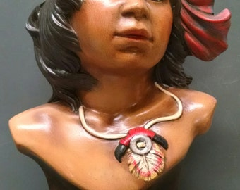 Indian Boy Bust--Native American Indian Figurine--Heirloom Quality--Hand-painted Ceramic--Home Decor--Native American Art
