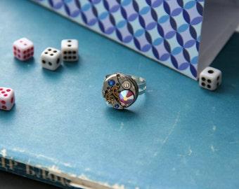 Steam punk Ring. Purple, Swarovski. Steampunk.