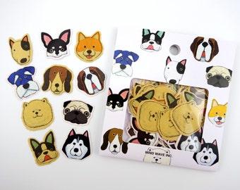 Japanese dog sticker flakes, kawaii dogs, Shiba Inu stickers, Pug stickers, Boston Terrier stickers, dog emoticons, emoji, Samoyed Husky